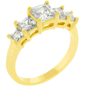 5-stone Anniversary Ring In Goldtone, size : 07