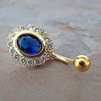 Gold Belly Button Rings Sapphire Blue Gold Belly Ring