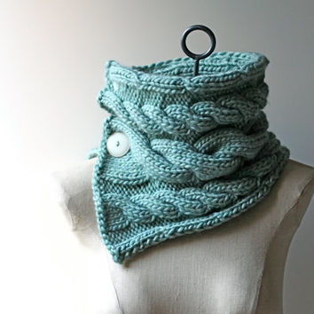 Ready to Ship: Robin's Egg Blue Hand Knitted Women's Cabled Neck Warmer Cowl Infinity Scarf in Wool Blend Roving with Buttons