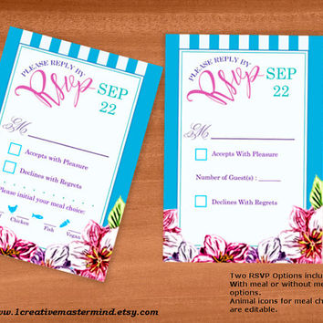 DIY Wedding rsvp response card Template, Instant Download, Editable PDF, Printable, Digital, Floral with Blue and White Stripes #1CM80-4