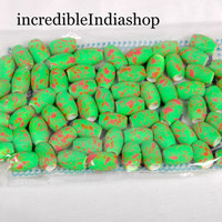 beautiful beads mat finishing flurosent color beads for multipurpose making of art & craft things barrel shaped 63 beads about 100 Grams.