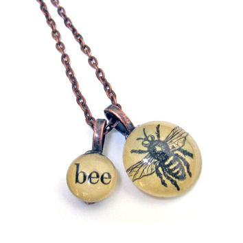 Birds and Bees BEE Vintage Book Copper Extra Long Necklace