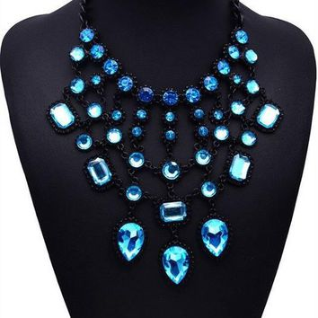 Multi-layers Crystal Statement Necklace