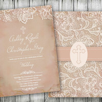Vintage Lace Christian Wedding Invitations - Wedding Rehearsal Invitations - Anniversary Party and Bridal Shower - Homemade Invitations