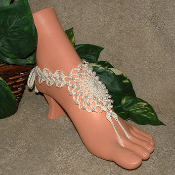 Victorian Ivory Pearl Beach Wedding Barefoot Sandals, Wedding Jewelry, Anklet, Toe Rings, Bridal, Shoes, Accessories, Victorian