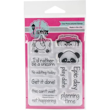 """Pink & Main Clear Stamps 3""""""""X4""""""""-Planner Peekers"""