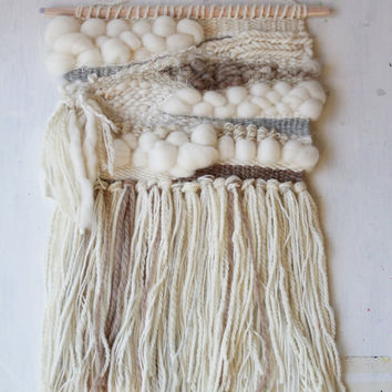 Handwoven Wall Art - Amanda J French Woven Tapestry with Fringe - Handspun and Natural Yarn - Wall Hanging