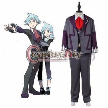 Custom Made Anime  Cosplay Costume Steven Stone School Uniform Outfit Suit Halloween Costume D0506Kawaii Pokemon go  AT_89_9