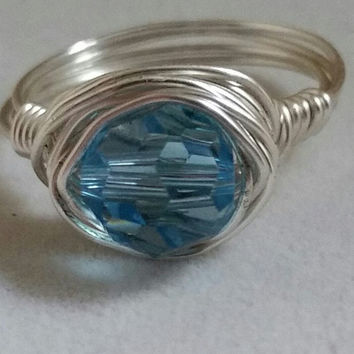 Swarovski crystal ring-crystal rings-sterling silver-wire wrapped rings-bridesmaids jewelry-wedding jewelry- Swarovski crystal ring-gift