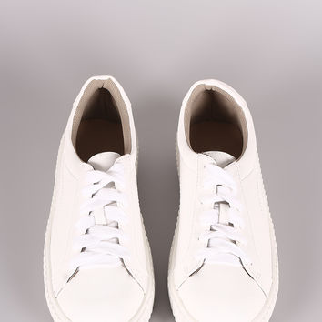 Round Toe Lace Up Creeper Flatform Sneaker