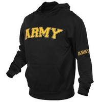 Embroidered Army Black Pullover Sweatshirt