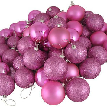 24 Shatterproof Ball Ornaments - Color:orchid Pink And Purple