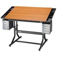 Alvin CraftMaster II Deluxe Art, Drawing, and Hobby Table Black Base with Cherry Woodgrain Top