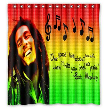 Vixm Home Bob Marley Fabric Shower Curtains Customized Chinese Bathroom Curtains With Hooks 66x72 inch