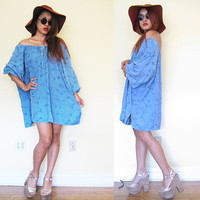 Vintage hippie blue jean denim off shoulder bell sleeves oversized embroidered hippie boho bohemian festival drawstring mumu dress large