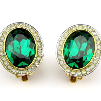 Green Rhinestone Earrings Oval Clip on