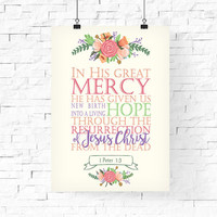 Bible Quote 1 Peter 1:3 | Easter Printable | Easter Typography Poster | Bible Quote Printable | Resurrection | He is risen