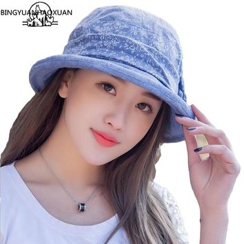 BINGYUANHAOXUAN Women's Summer Beach Bucket Sun Hat with Large Brim Casual Cotton Fashion Floppy