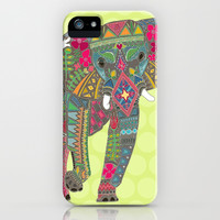 painted elephant chartreuse dot iPhone & iPod Case by Sharon Turner