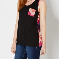 Chiffon Back Peach Chevron Tank