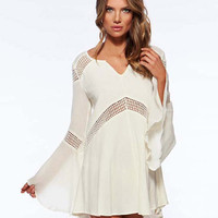 White V-Neckline Bell Sleeve Beach Dress with Crochet Cut-Outs