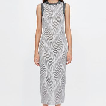 JACQUARD DRESS WITH METALLIC THREAD DETAILS