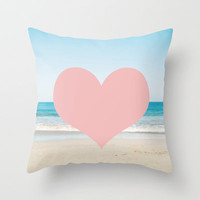 Heart Beach  Throw Pillow by Bree Madden