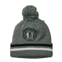 NBA Brooklyn Nets Soft Acrylic Pom Knit Beanie in Grey