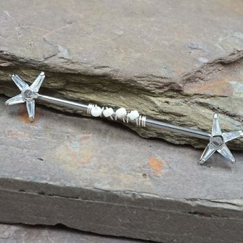 Silver Crystal Starfish Industrial Barbell 14g