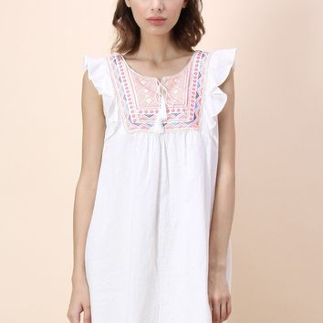 Tribes Favor Sleeveless Babydoll Dress in White