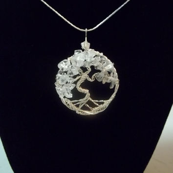 Wire Wrapped Quartz Tree of Life Necklace