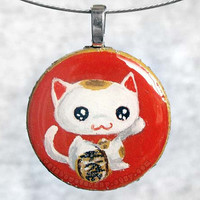 Lucky Cat Pendant Necklace Hand Painted Maneki by rainbowofcrazy
