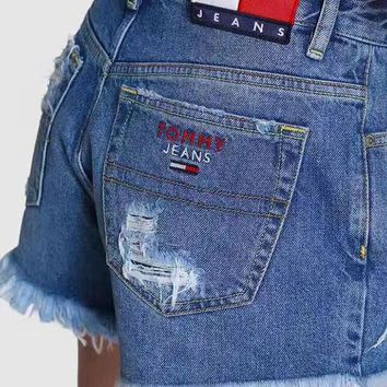 Tommy Jeans 90s High Waist Hole Cutoff Jeans Shorts