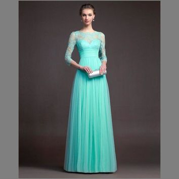 2017 New Light Green Long Modest Bridesmaid Dresses 3/4 Sleeves LaceTulle Floor Length Wedding Guests Dress Cheap