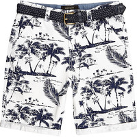 River Island Boys white palm print belted shorts