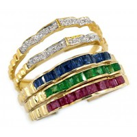 18K Yellow Gold Diamond and Ruby Emerald Sapphire Stacking Ring [RT0002]