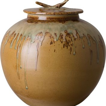 Japanese Tea Canister With An Earth Brown Glaze