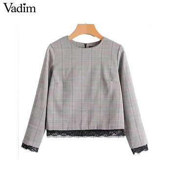 Vadim women sweet lace patchwork plaid shirts houndstooth long sleeve blouse vintage autumn fashion casual tops blusas LT2290