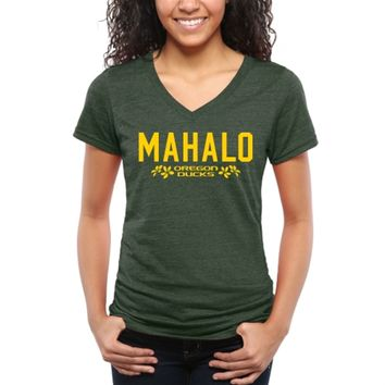 Women's Green Oregon Ducks MAHALO V-Neck Tri-Blend T-Shirt