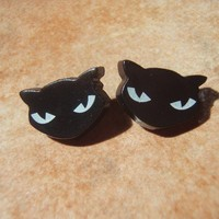 BAD KITTY 50s Style Cat Studs Earrings   Nickel by veryvintage