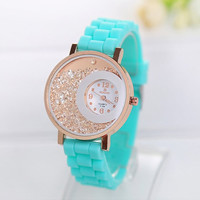 Women's Rhinestone Quartz Watch with Silicone Strap Band Mint Green