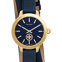 Tory Burch 'Collins' Double Wrap Leather Strap Watch, 32mm | Nordstrom