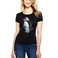 Headphone Penguin Tee - Black