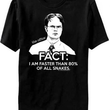 The Office Dwight Schrute Fact I Am Faster Than 80% Of All Snakes Adult Black T-shirt