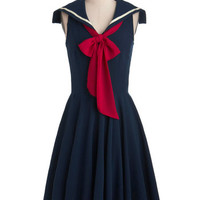 ModCloth Nautical Long Sleeveless A-line Sea Shanty Singing Dress in Navy