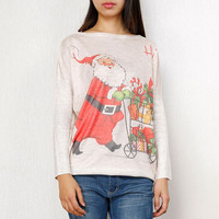 Beige Santa Claus Print Loose Fit Pullover Sweater