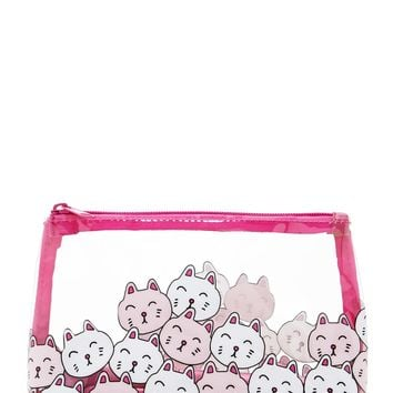 Clear Cat Print Makeup Bag