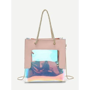 Iridescent Detail Tote Bag With Clutch