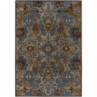 Couristan Trasitional Pav Persian Tapestry Steel Blue - Bronze Contemporary Rug - 12260301051076T