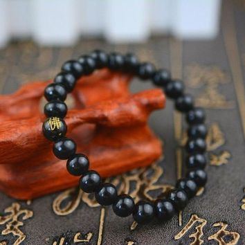 LKO Mens Women Wood Beads Bracelets Rappers Jewelry Gifts Sandalwood Chinese Buddhist Buddha Meditation Prayer Bead bracelet